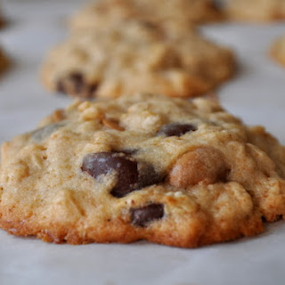 Banana Oatmeal Cookies with Peanut Butter and Chocolate Chips.