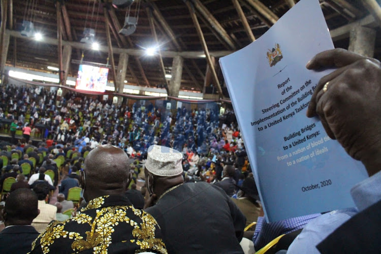A delegate reads the BBI report during its launch at Bomas of Kenya on October 26, 2020.