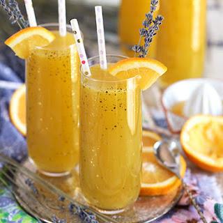 Sparkling Lavender Orange Mimosa Cocktail.