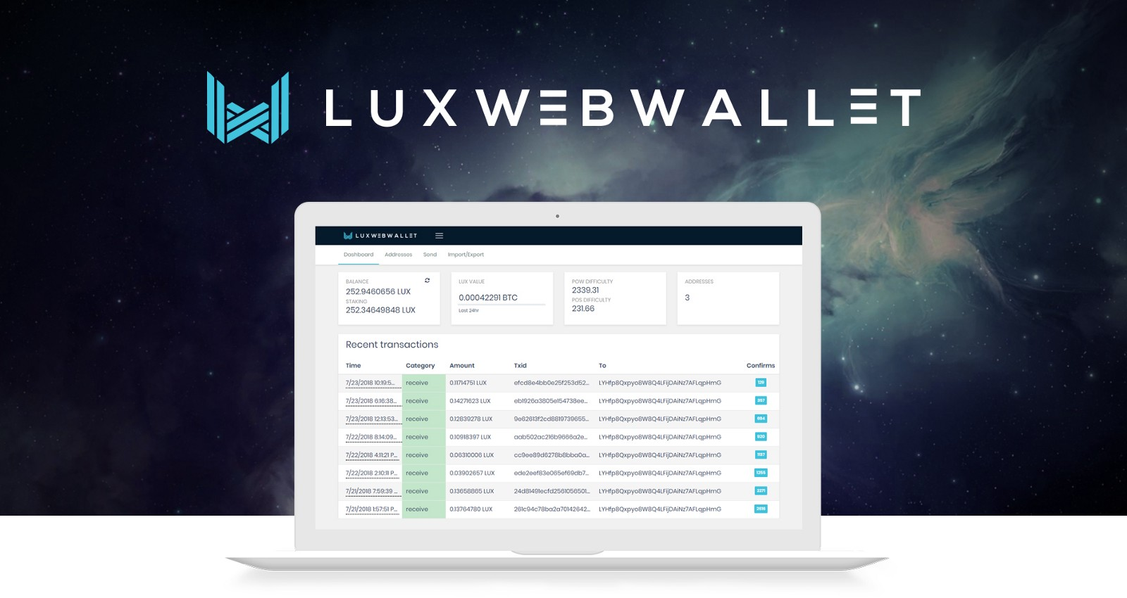 Luxcore staking web wallet