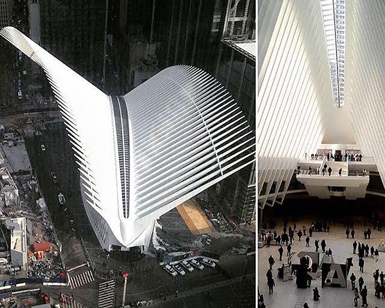 Outside and inside the Oculus at 1 World Trade Center