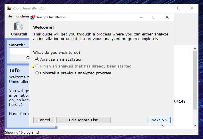 Analyze an installation