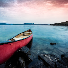 Morning Dream by Tom Moors - Transportation Boats ( water, boating, red, lake jocassee, canoe, lake, sunrise, rocks )