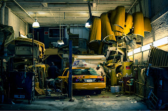 Photo: I was walking around NYC yesterday and saw this garage....thought it was wicked cool, I'd love to get a model in here too...but for now this is where the cabs go for a facelift apparently