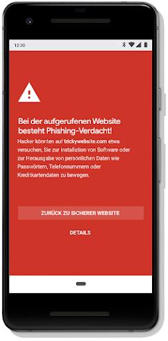 Safe Browsing-Warnung auf einem Smartphone