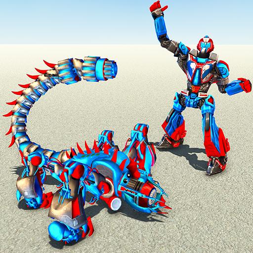 Robô de Escorpião transformando e atirando jogos