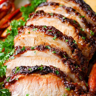 Brown Sugar Dijon Glazed Pork Loin with Carrots, Apples and Sweet Potatoes.