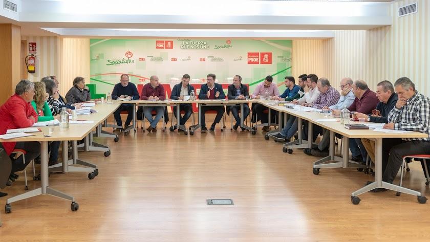 Reunión ayer en la sede del PSOE de Almería.