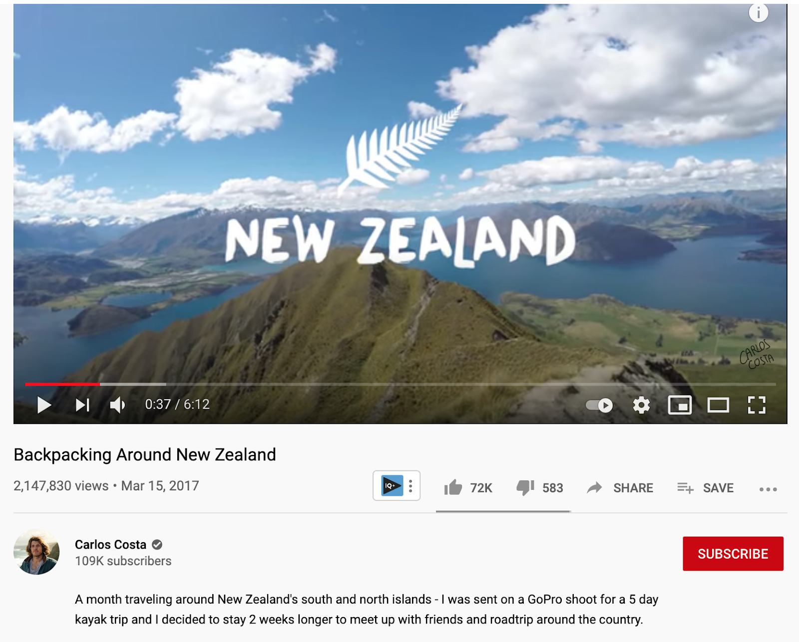 A video with over 2.1M views on backpacking around New Zealand.