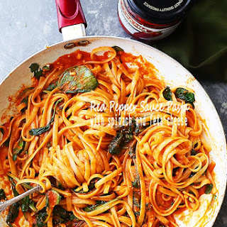 Red Pepper Sauce Pasta with Spinach and Feta.