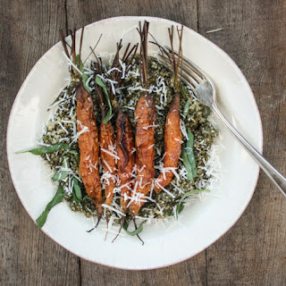 Carrot Top Pesto Quinoa Salad with Roasted Carrots