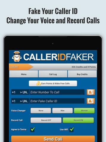 CallerIDFaker.com Original App Screenshot