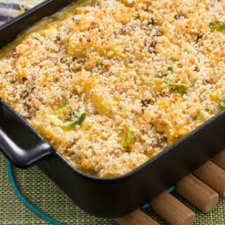 Butternut Squash & Gouda Casserole with Brussels Sprouts & Chestnut Breadcrumbs.