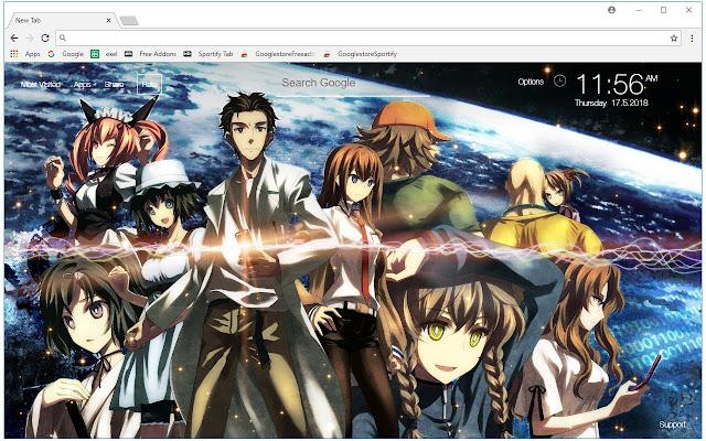 Steins Gate HD Wallpaper Anime New Tab Themes