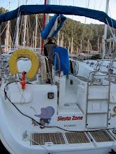 Photo: Mert's boat: siesta zone!
