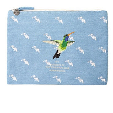 White Blank Bird Denim Pouch