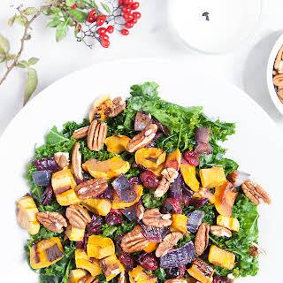 Delicata Squash and Cranberry Kale Salad.