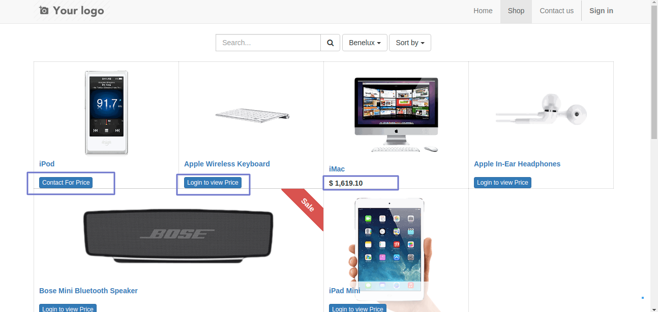Front end view of products with different price representation.