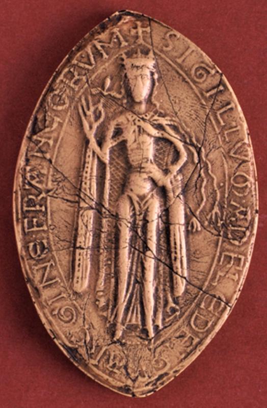 Photo: Adèle de Champagne, reine de France, veuve de Louis VII, en 1190 - Moulage,  Paris, Archives nationales de France, sc/D152 - h. 87 mm - Légende  : /+ SIGILLVM . ADELE . DEI . GR(aci)A . REGINE . FRANCORVM/ (Sceau d'Adèle, par la grâce de Dieu, reine de France)