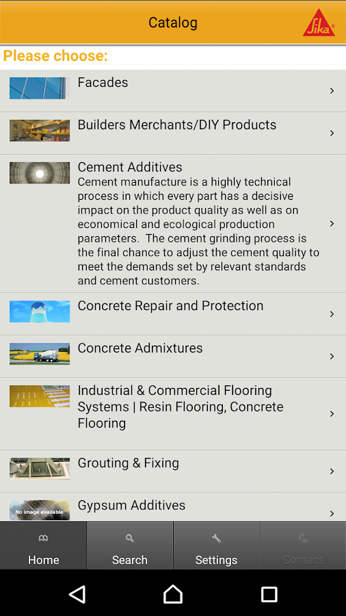 Sika Product Finder- screenshot