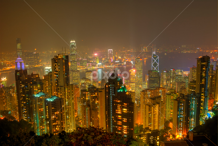 Hong Kong Skyline by Ram Suson - City,  Street & Park  Skylines ( hong kong, hong kong skyline, skyline, cityscape, city skyline )