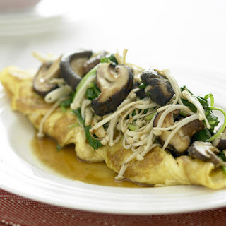 Cheese Omelette with Mushrooms and Spinach.