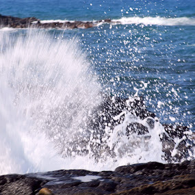 Wave Crashing by Moe Cook - Nature Up Close Water ( water drops, splashing, waterscape, waves, ocean, rocks )