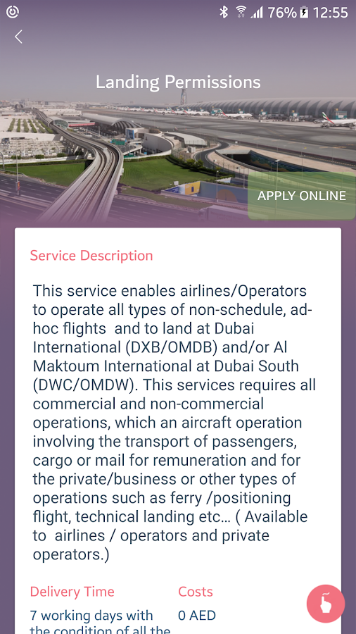 Dubai Civil Aviation Authority- screenshot