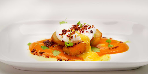 Blu-Poached-Egg.jpg - A poached egg prepared at Blu, a specialty restaurant on Celebrity Edge.