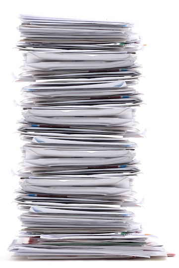 A stack of files showing email swipes