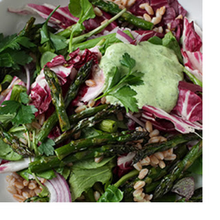 Roasted Asparagus Salad with Creamy Herb Dressing