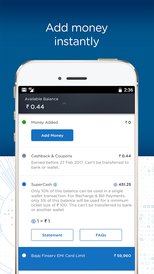 Bajaj Finserv Wallet - No Cost EMIs, Recharges- screenshot