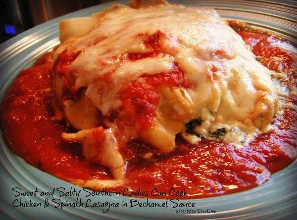 Chicken & Spinach Lasagna In Bechamel Sauce