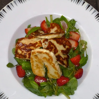 Halloumi, Strawberry and Basil Salad with a Blackberry or Balsamic Vinegar Dressing