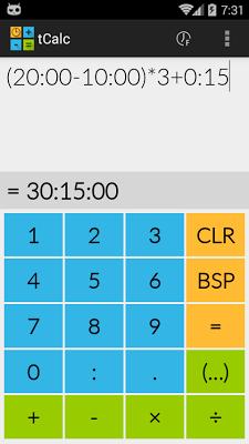 tCalc - a time calculator - screenshot