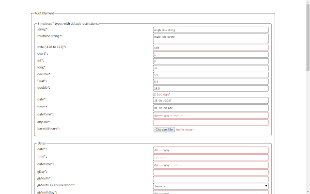 XML Schema Form Generator