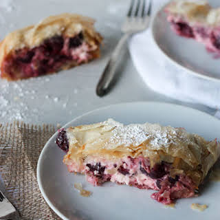 Cheese and Cherry Strudel.