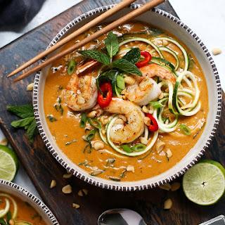 Thai Peanut Soup with Kale, Zoodles & Shrimp Recipe