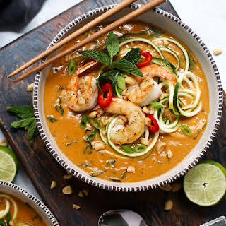 Thai Peanut Soup with Kale, Zoodles & Shrimp.