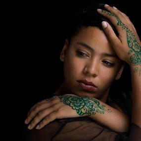 Zaddik by Henk  Veldhuizen - People Portraits of Women ( henna, womanportrait, hands, woman, hennaonhands, green henna,  )