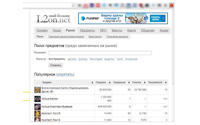 Поиск предметов на l2on.net