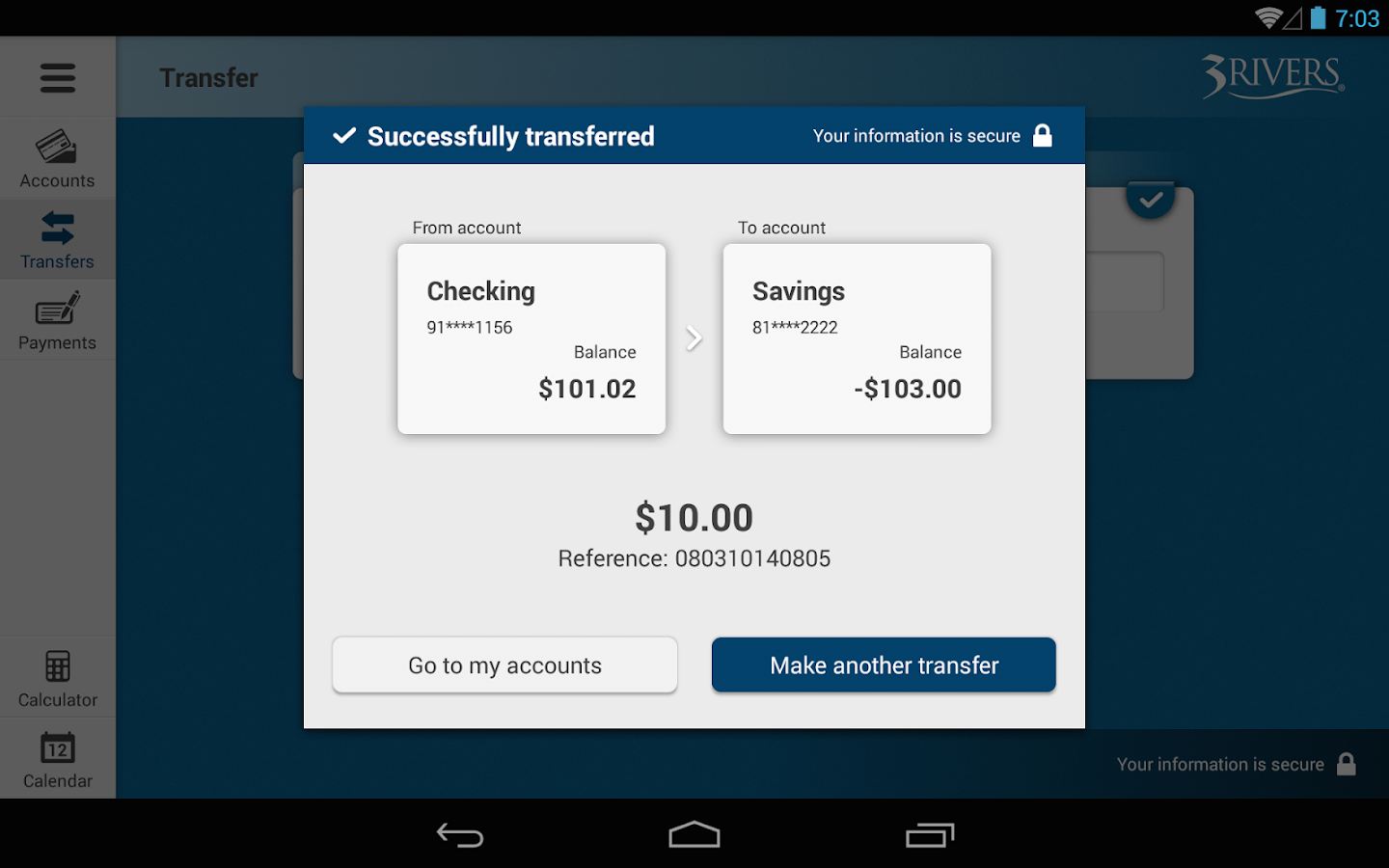 3Rivers Mobile Banking Tablet- screenshot