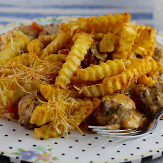 Meatball and Fries Casserole.