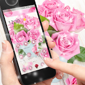 Pink Rose Fresh Theme, 3D Red Flowers Wallpapers