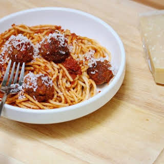 Spaghetti With Beef Meatballs.