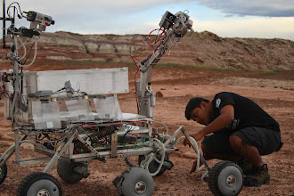 Photo: Team Rudra (SRM University, India) preparing their rover for the Astronaut Assistance Task.