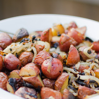 Crispy Grilled Red Potatoes with Onions and Rosemary.