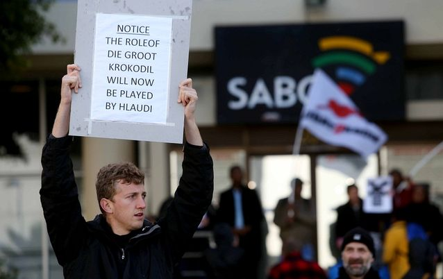 Journalists' civil society groups and concerned members of the public gather outside the offices of the SABC in Cape Town and Johannesburg in the name of media freedom. Picture: ESA ALEXANDER