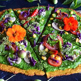 Squash Pizza Crust With Green Pesto.