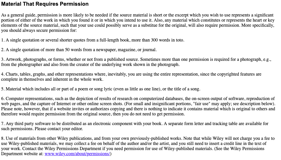 material that requires permission for book copyrighting